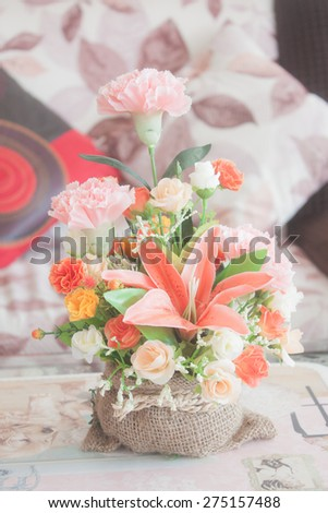 Vase of flowers in the living room - stock photo