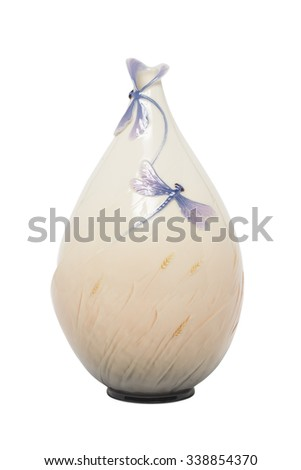 vase with dragonfly isolated on a white