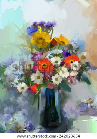 Vase with still life a bouquet of flowers. Oil painting - stock photo
