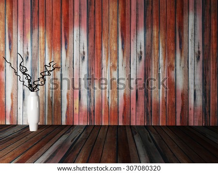 vase with the branches near the wooden wall,3d rendering - stock photo