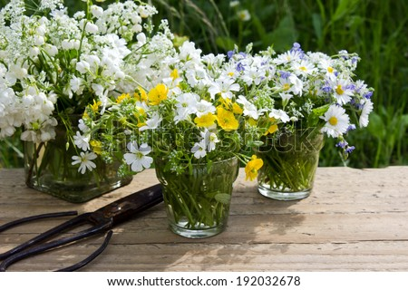 vases with wildflowers and scissors/wildflowers/spring
