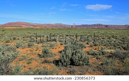 Vast valley in the Utah desert, USA.