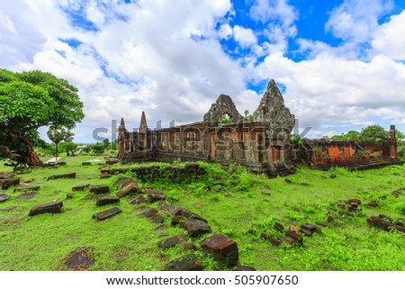 Vat Phou or Wat Phu is the UNESCO world heritage site in Champasak, Laos, Vat Phou  in Champasak or Wat Phu  in Champasak, Pakse, South Laos