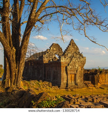 Vat Phou or Wat Phu is the UNESCO world heritage site in Southern Laos - stock photo