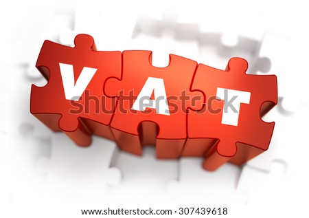 VAT - Value Added Tax - White Word on Red Puzzles on White Background. 3D Illustration. - stock photo