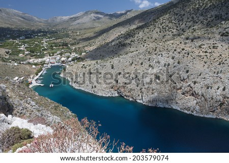 Vathi bay at Kalymnos island in Greece - stock photo