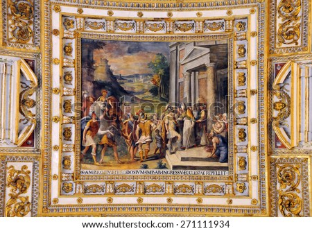 VATICAN - APRIL 29, 2014: Detail of the ceiling painting in one of the galleries of the Vatican Museums - stock photo