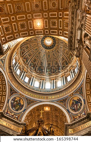 VATICAN - APRIL  25:  Inside view of the dome of St. Peter's Basilica on April 25, 2012 in Rome,  Italy. St. Peter's Basilica one of the largest Christian church in world. - stock photo
