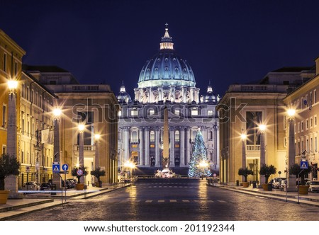 Vatican at night during Christmas time - stock photo