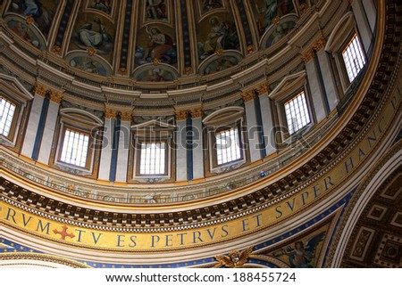 VATICAN - AUGUST 4: Detail of the dome in Saint Peters Basilica on August 4, 2011 in Vatican. Vatican City is the smallest internationally recognized independent state in the world.  - stock photo