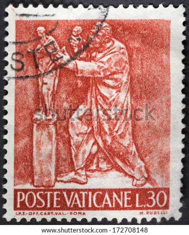VATICAN - CIRCA 1966: A postage stamp printed in the Vatican shows kind of arts - sculpture, circa 1966 - stock photo