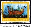 VATICAN - CIRCA 1974: a stamp printed in the Vatican shows Noah's Ark, Design Chosen through Worldwide Youth Competition in Connection with 1972 International Book Year, circa 1974 - stock photo