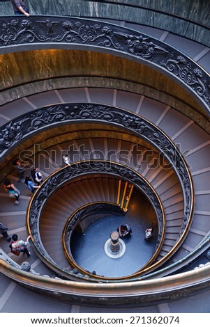VATICAN City 18 April 2015: Spiral stairs of the Vatican Museums in Vatican, Rome, Italy.