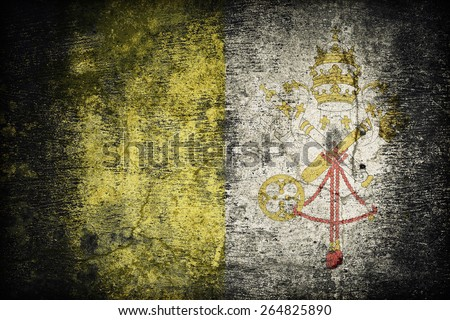 Vatican City flag pattern on dirty old concrete wall texture ,retro vintage style - stock photo