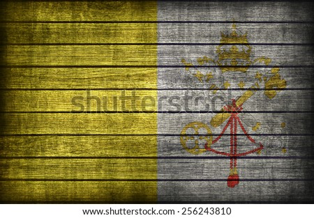 Vatican City flag pattern on wooden board texture ,retro vintage style - stock photo