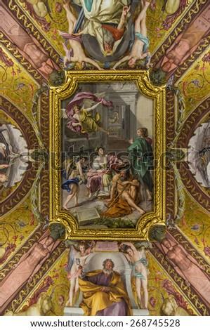 VATICAN CITY, ITALY - APRIL 16, 2013:  Ceiling fresco The Triumph of History over Time (Allegory of the Museum Clementinum) by Anton Raphael Mengs, Camera dei Papiri, Vatican Library. Vatican City. - stock photo