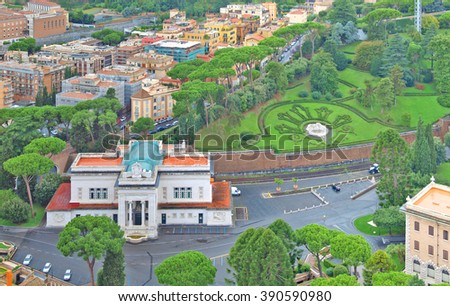 Vatican City, Italy - February 22, 2016: View of the Vatican railway station from the dome of St. Peter. Vatican City, Rome, Italy.