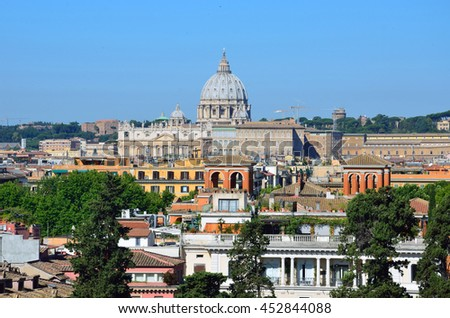 VATICAN CITY - JUNE 18 2016: St. Peter's Basilica is one of the largest churches in the world and was completed in 1626.