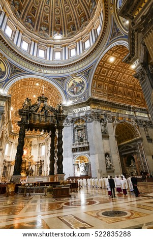 VATICAN CITY, ROME, ITALY - MAY 26, 2016 -  Interior of famous Saint Peter cathedral, Basilica di San Pietro in Vatican, Italy