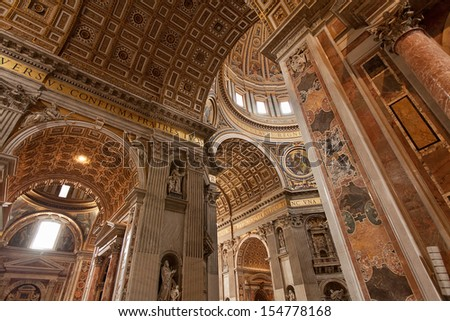 VATICAN CITY, ROME-May 8:St Peters Basilica one of the holiest Catholic sites is a Late Renaissance church within Vatican City on May 8, 2013. St. Peters is the most famous of Renaissance architecture