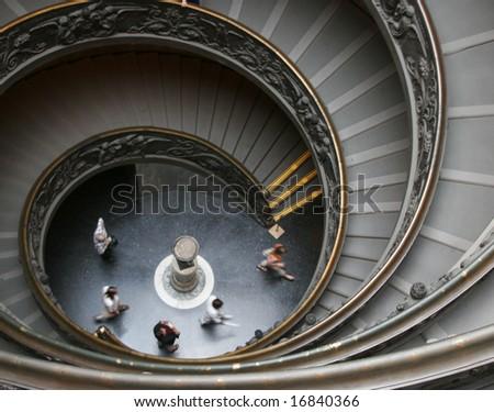 vatican city, spiral walkway - stock photo