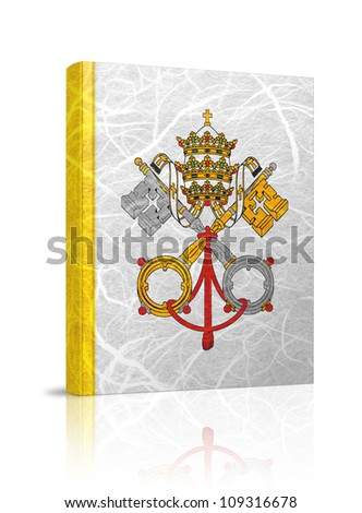 Vatican City State flag book. Mulberry paper on white background. - stock photo