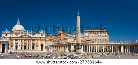 VATICAN CITY, VATICAN - JUNE 2012: St. Peter's Square - is a massive plaza located directly in front of St. Peter's Basilica, the papal enclave inside Rome, west of the neighborhood or rione of Borgo - stock photo