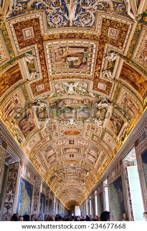 VATICAN CITY, VATICAN - SEPTEMBER 25, 2012: Interior one of the rooms of the Vatican Museum. The Vatican Museums are the museums of the Vatican City and are located within the city's boundaries. - stock photo
