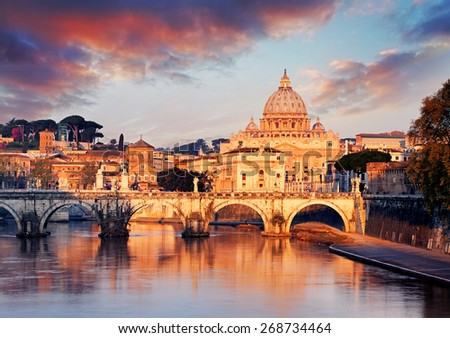 Vatican city with St. Peter's Basilica - stock photo
