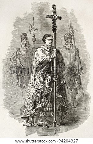 Vatican crucifix bearer. Created by Neuville, published on Le Tour du Monde, Paris, 1867 - stock photo