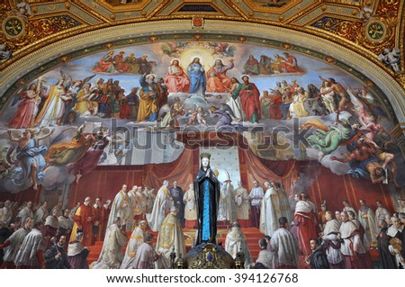 VATICAN, ITALY - MARCH 14, 2016: The paintings in the Vatican's Stanze di Raffaello (Raphael Rooms) are a series of papal apartments frescoed by Raphael and were recently restaurated - stock photo
