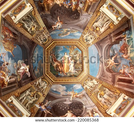 VATICAN - JULY 19, 2014: The ceiling in one of the galleries of the Vatican Museums on July 19, 2014 in Rome, Italy. - stock photo