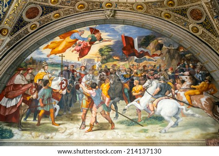 VATICAN - MAY 14, 2014: The Meeting of Leo the Great and Attila. The fresco of the 16th century in one of the rooms of Raphael (Stanze di Raffaello) in the Vatican Museum. - stock photo