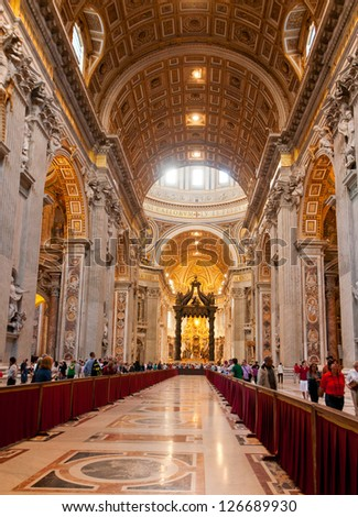 VATICAN - OCTOBER 18 : Indoor St. Peter's Basilica on October 18, 2012 in Rome, Italy. St. Peter's Basilica until recently was considered largest Christian church in world