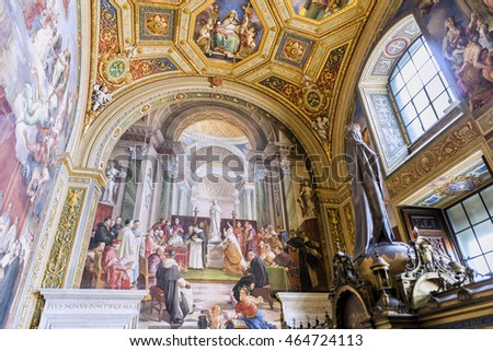 VATICAN, ROME, ITALY - MARCH 14, 2016: Lovely painting details of  interior Hall of the immaculate conception ( Sala dell'immacolata Concezione ) at Apostolic Palace. Masterpiece by Francesco Podesti.