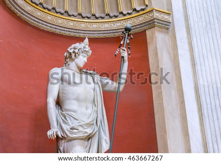 VATICAN,ROME, ITALY - MARCH 14, 2016:  Magnificent ancient statue Braschi Antinous in Round Hall of the Apostolic Palace ( Famous Roman Landmark ). Pio Clementino Museum. Europe.