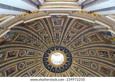 VATICAN - SEPTEMBER 25: Interior of Saint Peters Basilica on September 25, 2012 in Vatican. Vatican City is the smallest internationally recognized independent state in the world. - stock photo