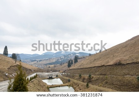 Vatra Dornei landscape with mountains, Romania