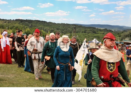 Vatra, Moldova. June 28, 2015. Medieval Festival. Historic clubs from Europe - theatrical performances involving the troubadours, knights.