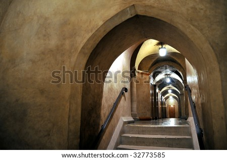 Vault in the lower level (Crypt) of the National Cathedral in Washington DC - stock photo