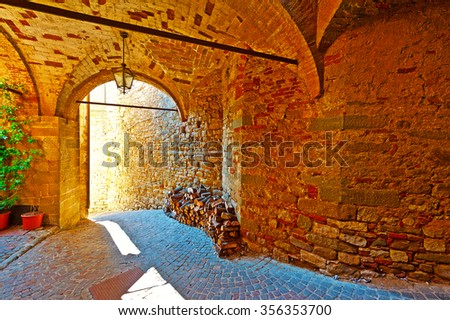 Vaulted Ceiling of the Old Street in a Italian  Medieval City - stock photo