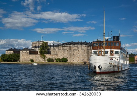 Vaxholm Fortress on Vaxholm island, part of the Stockholm archipelago,  Stockholm County, Sweden.