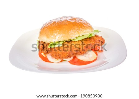 veal burger in bread bun with cucumber and tomato isolated on white plate; fried veal schnitzel burger - stock photo