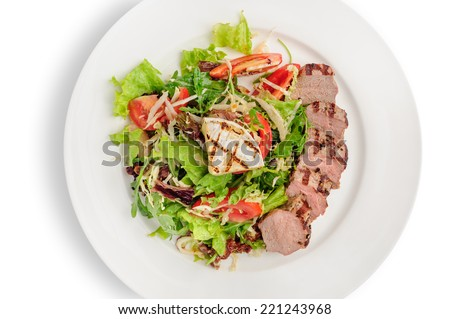 Veal meat with fresh vegetable salad - stock photo
