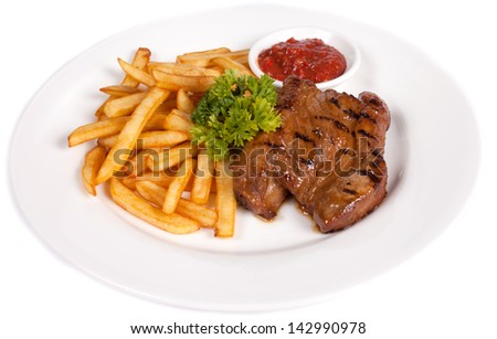 Veal with french fries and sauce