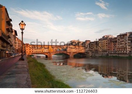 Vecchio Bridge on river Arno, Florence, Tuscany, Italy