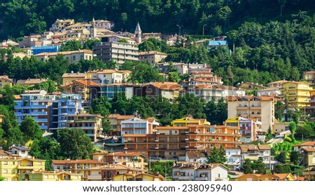Vecherny view of San Marino in Italy - stock photo
