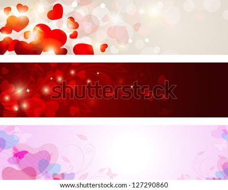 Vector backgrounds with hearts for Valentine's day - stock photo