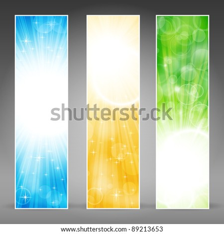 Vector banner set in green, blue and gold for festive occasions with copy-space. Vector version available. - stock photo