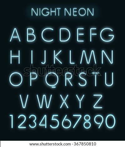 Vector Blue light neon alphabet in dark - stock photo